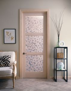 A decorative resin insert changes this door from functional to a focal point.