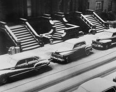 This is what New York looks like today. White Stoops, New York City, photo by Ruth Orkin . Grant's Golden Brand Pomade the premiere water-based pomade made in the good old USA History Of Photography, Street Photography, Art Photography, Photography Journal, Berenice Abbott, Gordon Parks, Black And White City, New York City Apartment, City Apartments