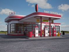 Gas Station at day and night Model available on Turbo Squid, the world's leading provider of digital models for visualization, films, television, and games. Old Gas Pumps, Vintage Gas Pumps, Drive In, Art Deco Buildings, Old Buildings, Vintage Diner, Vintage Signs, Pompe A Essence, Cool Garages