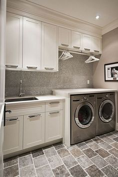 DIY Laundry Room Cabinet Storage Selves Ideas For Small Rooms ideas laundry utility sink Laundry Room Tile, Laundry Room Cabinets, Laundry Room Remodel, Small Laundry Rooms, Laundry Room Organization, Basement Laundry, Small Rooms, Diy Cabinets, Small Spaces