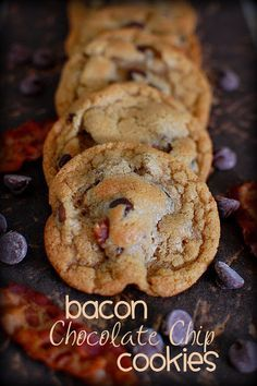 Bacon Chocolate Chip Cookies 3/4 c. (1  1/2 sticks) butter, softened 1/4 c. bacon fat, 1 c. packed brown sugar 1/2 c. sugar, 2 eggs, 1 t. baking soda, 1 t. vanilla, 2  1/4 c. flour, 1 c. semisweet chocolate chips, 1/2 c. milk chocolate chips 8-10 oz., bacon (or more, if you like) Drop by spoonful on parchment paper Bake 375 8 min.
