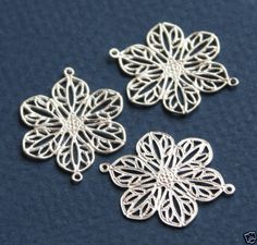 20-pcs-of-Silver-Plated-filigree-flower-links-22mm