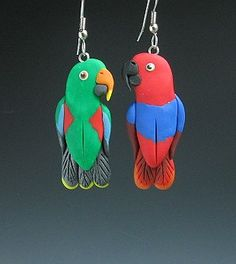 Eclectus parrot necklace earrings-bird jewelry by dawn
