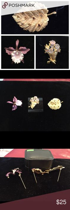 Three Vintage Brooches (bundle) NWOT Vintage Brooches features (1) Purple Flower with a Pearl in center and gold accent, (2) a Gold Potted Plant with flowers with rhinestones and Gold Gardening Tools, and (3) Gold Leave 10 gold rhinestones. Jewelry Brooches