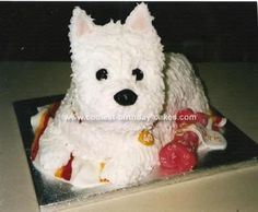 Homemade Westie Dog Cake: This Westie Dog Cake was done for a friend who bred West Highland terriers. I made a basic Madeira and cut a rectangle for the body and a smaller one for