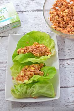 Spicy Tuna Lettuce Wraps - hard-boiled egg whites are the key to this creamy tuna salad! Use 3 hard-cooked egg whites and 6 ounces water-packed tuna to serve 2 (swap Tabasco for the sriracha, and use dill pickle relish).