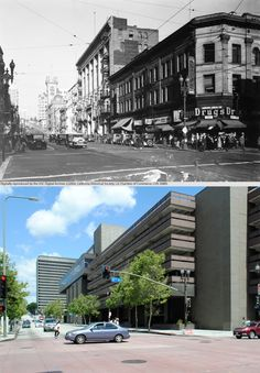 Looking north on Broadway from Second Street, c.1930-2012