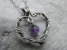 Amethyst necklace ~ Sterling silver amethyst pendant ~ February birthstone ~ February birthday jewellery ~ Purple amethyst ~ Heart necklace by DesignedByAnnemarie on Etsy