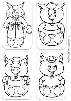 Fairy Tale Activities, Craft Activities For Kids, Projects For Kids, Cute Powerpoint Templates, Puppets For Kids, Album Jeunesse, Kindergarten Crafts, Three Little Pigs, Family Crafts