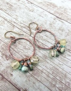 Handmade Bohemian Jewelry, Boho Chic Jewelry, Prehnite and Turquoise Earrings… #handmadeearrings
