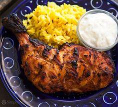 Tandoori Chicken ~ Grilled tandoori chicken, marinated in lemon juice, buttermilk, and aromatic spices. ~ SimplyRecipes.com