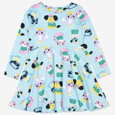 Pyret Children's Cats and Dogs Dress, Blue from our Girls' Dresses range at John Lewis & Partners. Simple Dresses, Pretty Dresses, Dog Dresses, Girls Dresses, Swedish Brands, Full Skirts, Gathered Skirt, Our Girl, Color Splash