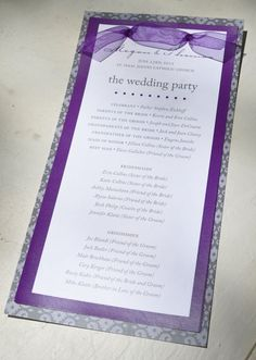 Purple and Gray Wedding Program Booklet by imaginationpad on Etsy, $3.50