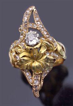 ART NOUVEAU   floral ring french 1900 | JV