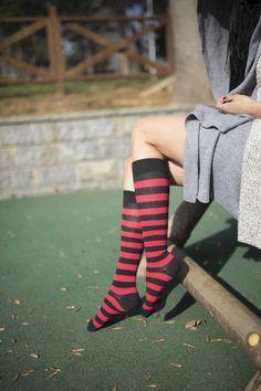 Trendy Fashion, Luxury Fashion, Trendy Style, Surprise Your Girlfriend, Striped Knee High Socks, Halloween Socks, Funky Design, Cotton Socks, Perfect Fit