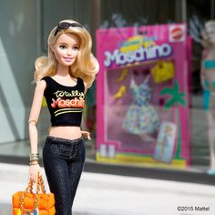 """It's a """"Totally Moschino"""" kind of day! From the runway of Milan to our very own California catwalk, so meta to visit the @Moschino boutique at 8933 Beverly Blvd and see the new windows. I love them, @itsjeremyscott! #barbie #barbiestyle"""