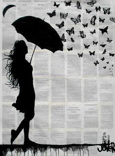 "Saatchi Online Artist Loui Jover; Drawing, ""butterfly rain"" #art"