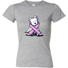 KiniArt Westie Terrier #Breast #Cancer #Awareness pink ribbon design by Kim Niles. www.inktastic.com