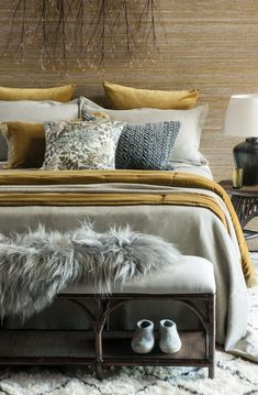 Sottobosco fog bedspread with Tramonto gold comforter, cushion and eurocases, Komorebi antique gold throw, Giardino natural cushion and Seggio ottoman Gold Comforter, Grey Bedding, Bedding Sets, Black Bedroom Furniture, Brown Furniture, Bed Linen Design, Bed Design, Fall Bedroom Decor, Houses