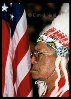 Native American Chief Flag Bearer, photograph by David Neel.