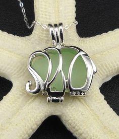 Elephant Jewelry Necklace Sea Glass por seaglassgems4you en Etsy