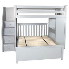 Zoomie Kids Alvarez Twin Over Full L-Shape Bunk Bed with Drawers Bunk Beds With Drawers, Bunk Bed With Desk, Bunk Beds With Storage, Wood Bunk Beds, Bed Storage, Queen Bunk Beds, Twin Bunk Beds, Kids Bunk Beds, L Shaped Bunk Beds