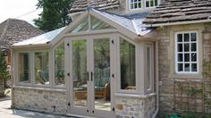 Garden room exterior This small yet perfectly proportioned conservatory shows in the best light the ability of our designers to find the right solution for you Orangerie Extension, Porch Extension, Cottage Extension, House Extension Design, Extension Ideas, Small Conservatory, Conservatory Design, Garden Room Extensions, House Extensions