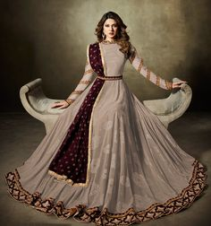 Buy Stylish Gray Colored Partywear Embroidered Lycra-Jacquard Anarkali Suit at Rs. Get latest Anarkali suit at Peachmode. Party Wear Indian Dresses, Indian Gowns Dresses, Dress Indian Style, Indian Wedding Outfits, Bridal Outfits, Indian Outfits, Lehenga Designs, Kurti Designs Party Wear, Pakistani Dress Design