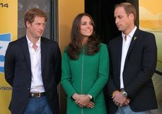Prince Harry, Catherine, Duchess of Cambridge and Prince William, Duke of Cambridge welcome the jersey winners to the podium after stage one of the 2014 Tour de France from Leeds to Harrogate on July 5, 2014 in Harrogate, United Kingdom.