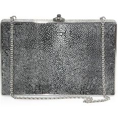 Judith Leiber Couture Ridged Rectangle Stingray Clutch ($1,695) ❤ liked on Polyvore featuring bags, handbags, clutches, judith leiber purses, silver handbags, chain strap purse, purse clutches and judith leiber handbags