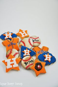 Houston Astros Baseball Cookies 1 Dozen par sugarberrysweets