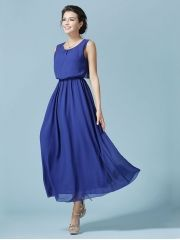 Summer Women's Elegant High Waist Expansion Bottom Sleeveless Chiffon Blue Maxi Dress