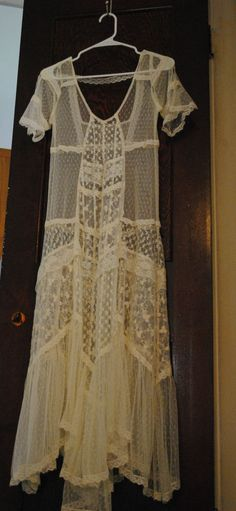 893dc5631bd0e0 Free People XS Lace Ivory Hippie Natural Earth Bohemian Maxi Dress  Anthropologie