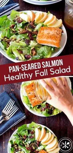 Need a break from the heavy casseroles and rich treats of the fall? This healthy fall salad with bacon seared salmon is refreshing and super easy to make! #glutenfree #dinner #seafood #salmon #searedsalmon #salad #fall #holiday #hungryhobby #healthyliving #healthyfood #healthyeating via @hungryhobby