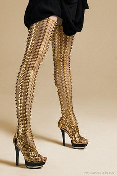 Ready For Battle | gold spiked tights and gold heels