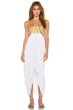 Mara Hoffman Embroidered Strapless Maxi Dress in White | REVOLVE