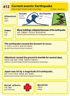 412 Current Events: Earthquake Learn Korean Hangul Flashcards