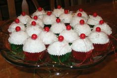 """Christmas ornaments in cupcake liners - add glitter and """"cherry"""" (can use brown to resemble chocolate ... can be any color!)"""