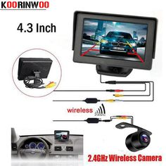 Koorinwoo Wireless Car Parking Assistance Video Monitors Wireless Car Rear View Camera Monitor System 2.4Ghz Wireless Camera Kit