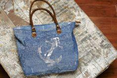 Sail Away Zipper Tote (Code no. M-2861) #handbag #fashion #nautical #anchor #reduce #reuse #recycle #upcycle #repurpose