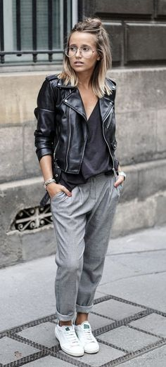 cami top. leather jacket. tailored trousers. sneakers. fall street style.