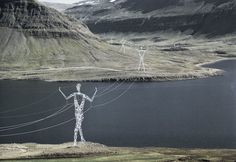 Iceland, Land of Giants, 98-ft (30 m) tall towers designed by Choi + Shine Architects, 2008 -These Beautiful Giant Sculptures Support Power Lines With Style