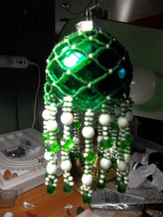 Green and White Sporty Bulb by DustDevilTreasures on Etsy, $40.00