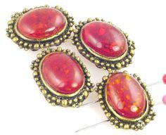6 Faux Amber 2 Hole Slider Beads 11082-q3 by MobileBoutiqueshop