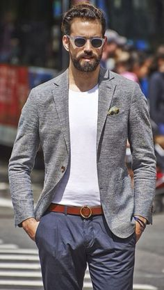 Grey Knit Jacket, Navy Chinos, and Frosted Acetate Sunglasses. Men's Spring Summer Street Style Fashion, NYC.