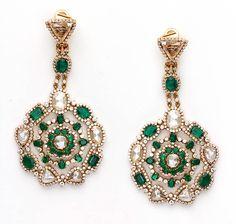 Amrapali white diamond and Zambian emerald drop earrings