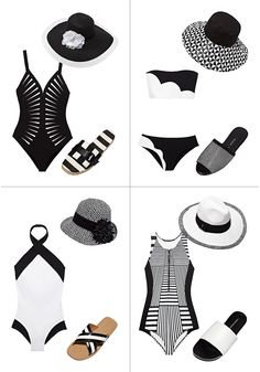Is there anything more sophisticated than black-and-white? I'm just crazy about these suits—and you might as well go for a full-on coordinated (but not matchy-matchy) look with slides and a great face-protecting hat.