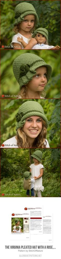 Crochet Beanie Ideas The Virginia Pleated Hat with a Rose, Cloche Hat crochet pattern - Crochet Baby Bonnet, Crochet Beanie, Knit Or Crochet, Crochet For Kids, Crochet Crafts, Crochet Stitches, Knitted Hats, Crochet Patterns, Hat Patterns