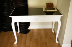 two-tone table -- maybe do something simple like this to house our card catalog drawers?