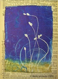 printmaking without a press with Linda Germain: One Hint for Composing a Gelatin Monotype Print